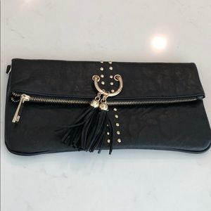 Cache tassle d g ring leather clutch bag handbag